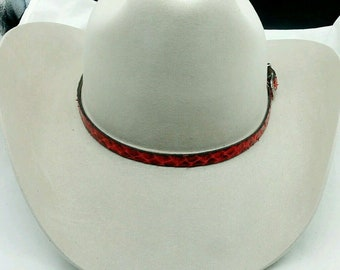 44905ed0e25 PYTHON HATBAND Genuine Red   Black Exotic Snake Skin with Genuine Leather  backing and 3-piece Silver Buckle Set Cowboy Hats Hat Band