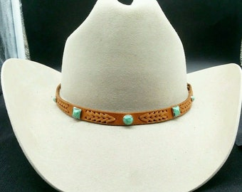 9b7e2297b5df52 Tan HATBAND with Braided Genuine Leather INSERTS, Small & Large Round and  Square Turquoise CONCHOS and 3pc Silver Buckle Set Cowboy Hat Band