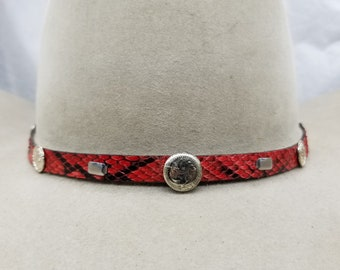 42d4e8c5a0d PYTHON HATBAND Genuine Red   Black Exotic Snake Skin with Vintage  Round+Small CONCHOS and 3-piece Silver Buckle Set Cowboy Hats Hat Band
