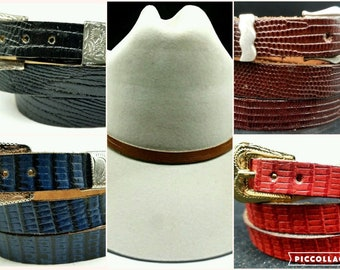 85980fb8062 LIZARD HATBAND Genuine exotic skin with 3-pc Buckle Set Western Cowboy Hat  Band 5 COLORS-Black.Dark Brown
