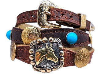 Tan Scalloped HATBAND Genuine Leather with Braided Edges Genuine TURQUOISE STONES and 3-piece Silver Buckle Set Cowboy Hat Band