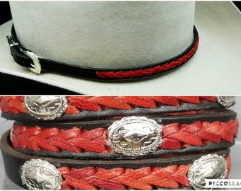 71b1a6af9c2 BLACK HATBAND Genuine Leather with Braided RED Leather Center and 3-piece  Silver Buckle Set Cowboy Hats Hat Band Vintage Western Design