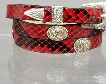 dd29a73601f PYTHON HATBAND Genuine Red   Black Exotic Snake Skin with Vintage Oval  Dogwood CONCHOS and 3-piece Silver Buckle Set Cowboy Hats Hat Band