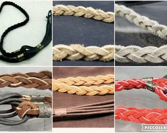 BRAIDED HATBAND Genuine Leather w  Cord Tassels Basketweave Cowboy Hat Band  12 COLORS Black Brown Tan Turquoise Red White Blue Pink etc 1d8472beb833