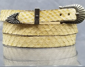 a32ab8b13cf NATURAL SNAKE HATBAND Genuine Yellow Exotic Skin with Genuine Leather  backing and 3-piece Silver Buckle Set Cowboy Hats Western Hat Band