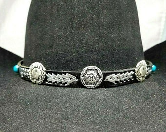 THUNDERBIRD Black HATBAND Genuine Leather with SILVER Braided Inserts 28102cc91545