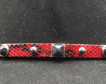 1e2bba995b6 PYTHON HATBAND Genuine Red+Black Exotic Snake Skin with Square+Round Black  Stone CONCHO S and 3-piece Silver Buckle Set Cowboy Hats Hat Band