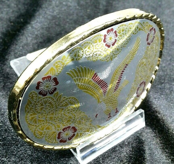 """FLYING EAGLE Belt BUCKLE 3 1//4/"""" Glossy Oval TRi-Color with Rope Edge"""