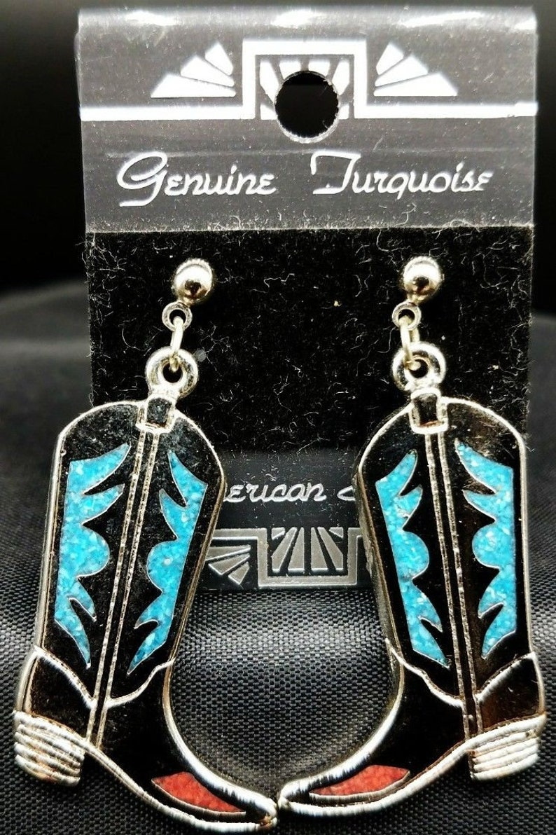 c3aca6e6ebc COWBOY BOOT EARRINGS Genuine Turquoise & Coral Mosaic Inlay Vintage Jewelry  Made in USa Silver Pewter Western Butterfly Post Ear Rings