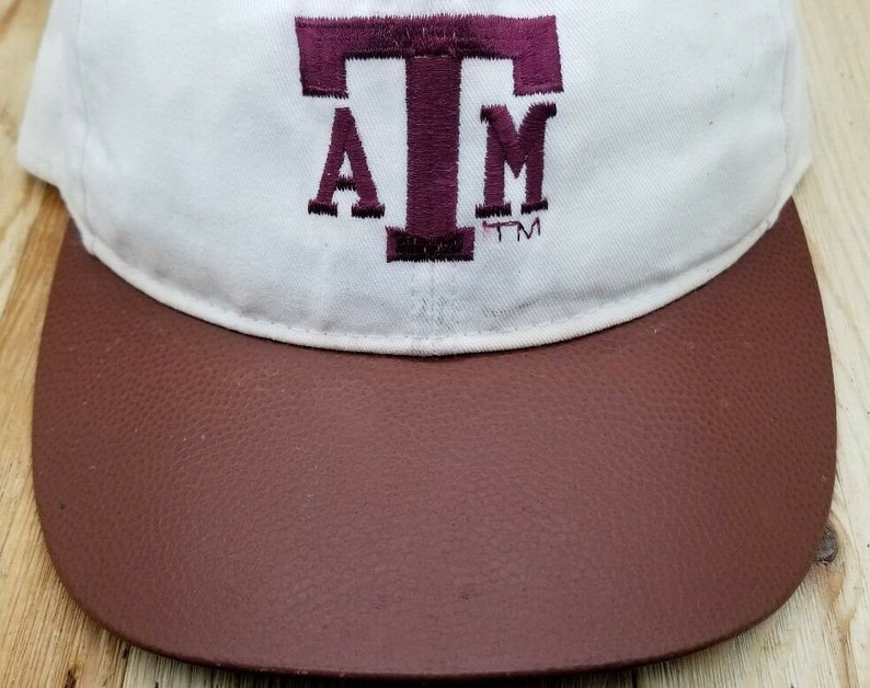 12197b94 CAP TEXAS A & M Genuine Leather Brim with TT Embroidery Adult   Etsy