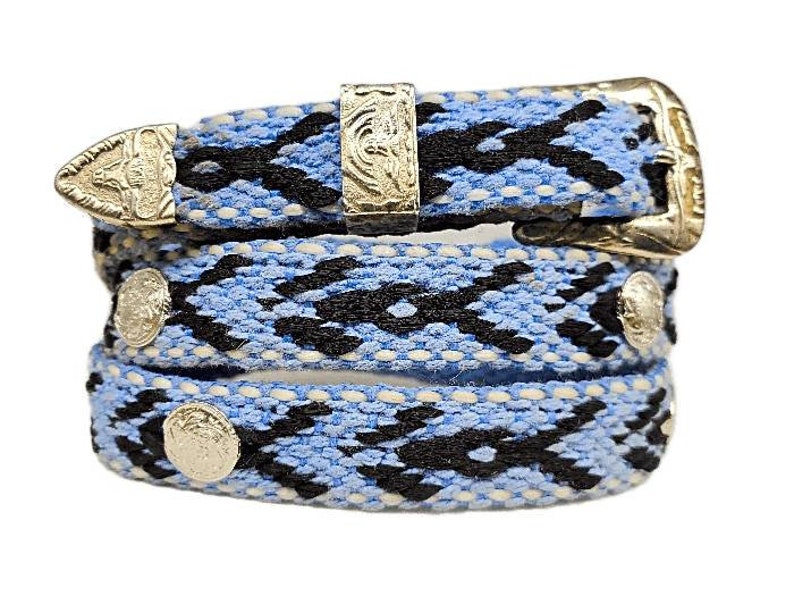 Blue Canvas HATBAND with Black pattern,White Stitching Round SILVER CONCHOS and 3-piece Longhorn Buckle Set Western Cowboy Cowgirl Hat Band