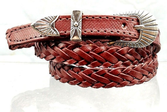b6ab16d642a Brown HATBAND Braided BASKETWEAVE Woven with 3-piece Silver