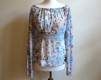 Blue Colorfull Vintage Blouse Floral Print Gypsy Blouse Boho Top Bohemian Blouse Long Bell Sleeves Size M