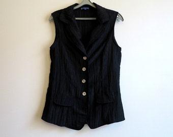 Black Vest Womans Vest Crinkled Vest Long Vest Sleeveless Waistcoat Size L