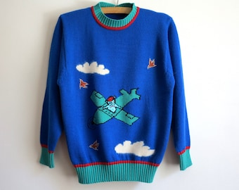 Cobalt Blue Womens Sweater Knitted Pullover with Helicopter Winter Sweater Size M