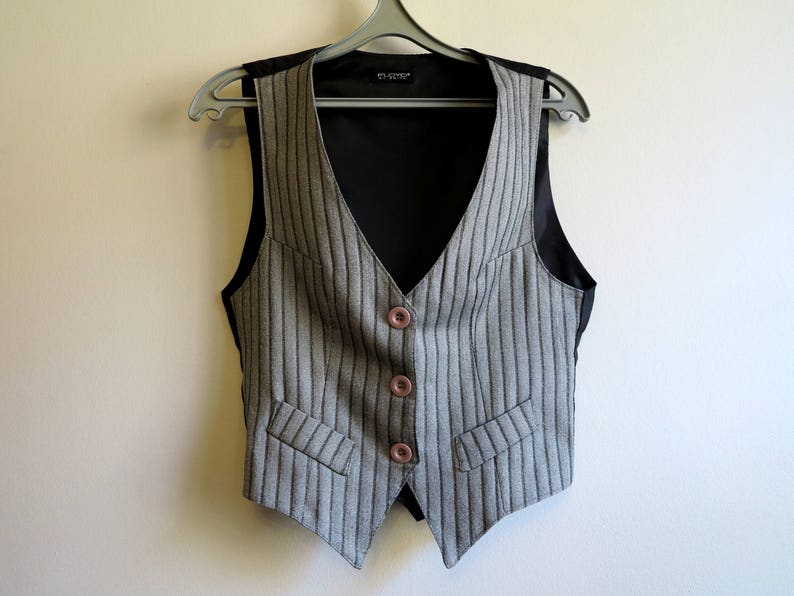 d83faf5cb2652 Womens Gray Black Striped Vest Formal Fitted Steampunk Vest Gray Waistcoat  Medium Size