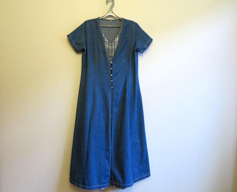 7f461fa341 Womens Blue Denim Dress Maxi Jumper Dress Cotton Jeans Dress
