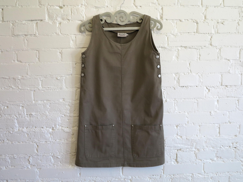 5acafa513a Khaki Denim Jumper Dress Overall Bib Dress Safari Style Cotton