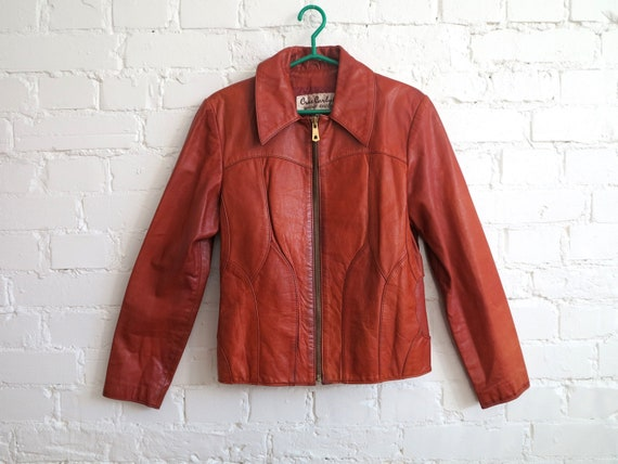 Vintage 70's Caramel Brown Genuine Leather Jacket… - image 1