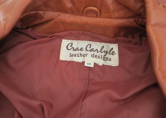 Vintage 70's Caramel Brown Genuine Leather Jacket… - image 6