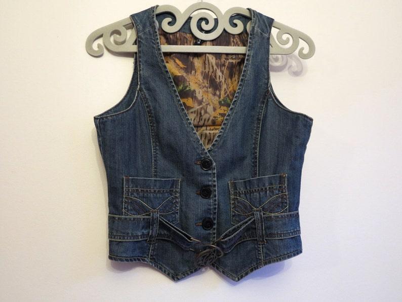Blue Denim Vest Womens Vest Fitted Jeans Waistcoat Country Western Vest Belted Denim Vest Medium Size