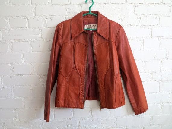 Vintage 70's Caramel Brown Genuine Leather Jacket… - image 5