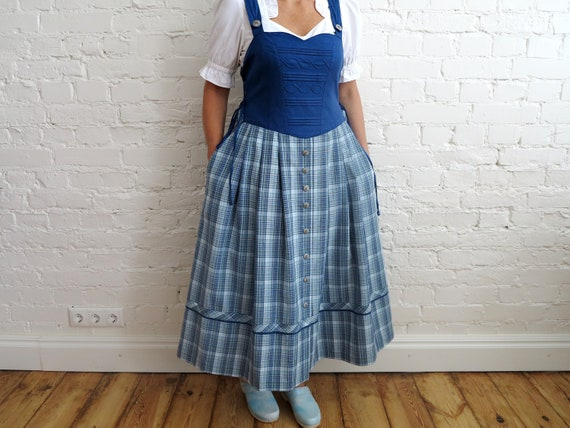 Vintage Blue Button Down Bavarian Folk Full Circle Dirndl Bavarian Octoberfest Maxi Dress