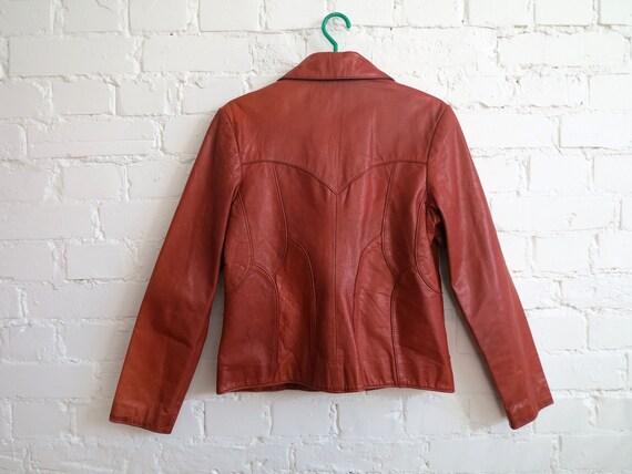 Vintage 70's Caramel Brown Genuine Leather Jacket… - image 4