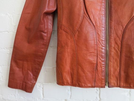 Vintage 70's Caramel Brown Genuine Leather Jacket… - image 2