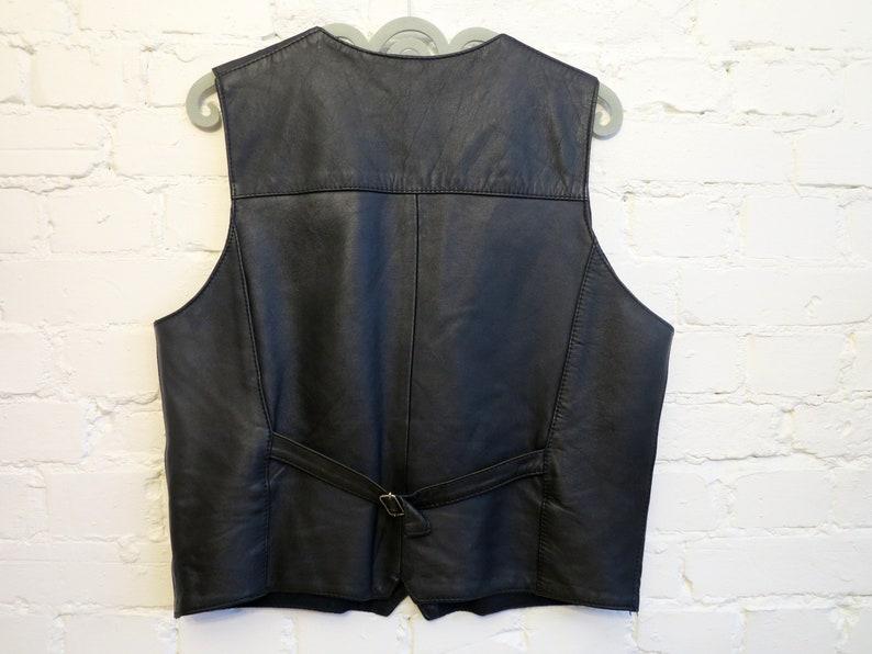 Black Leather Vest Mens Vest Genuine Leather Vest Leather Waistcoat Classic Vest Gilet for Men Biker Motorcycle Large Size
