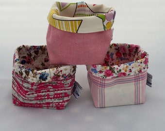 Fabric basket, Tidy Tub, handmade fabric storage pot, ideal gift, desk tidy, hair bobble tidy, dressing table tidy, reversible fabric pot,