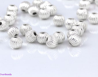 3mm Fancy Ribbed Spacer Beads 30 Sterling Silver Corrugated Round Beads
