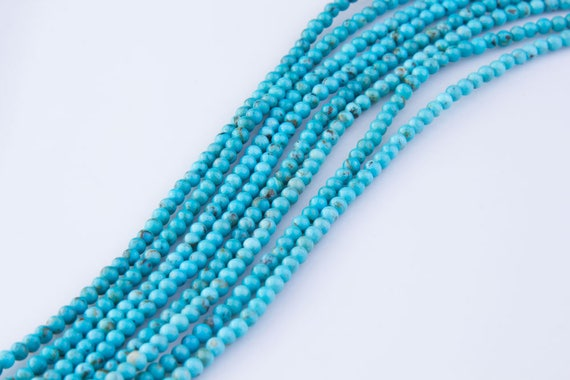 3MM QUEEN TURQUOISE GEMSTONE BLUE FACETED ROUND 3MM LOOSE BEADS 16/""