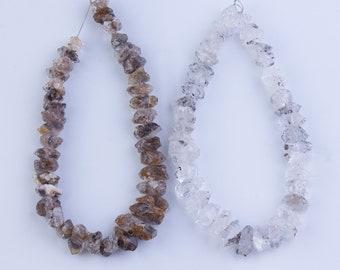 Herkimer Diamond Quartz Beads, Nugget Shape, Gemstone Beads, Semi-Precious Stones, Beading Supplies, Priced per Strand, HERK08