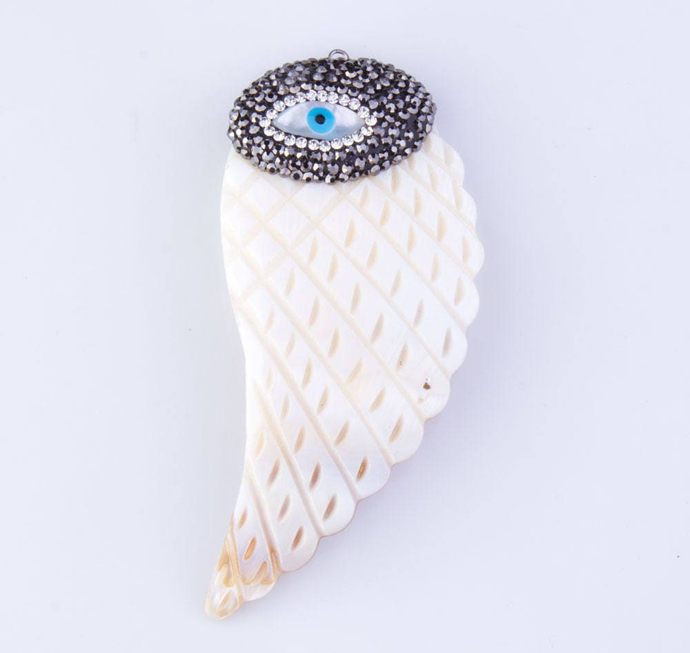 Mother Of Pearl Left Angel Wing Decor: Mother Of Pearl Angel Wing Pendant With Pave Evil Eye