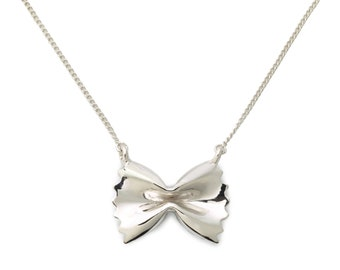 Farfalle Pasta Necklace Sterling Silver by Delicacies Jewelry - every purchase helps fight hunger! (food jewelry, gift for her)