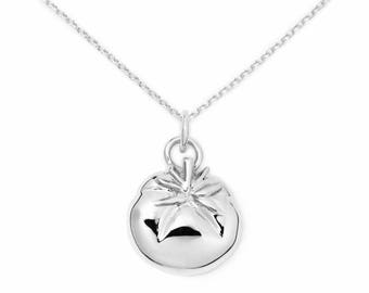 Tomato Sterling Silver Pendant Necklace, Foodie Jewelry