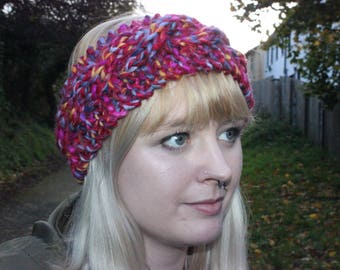 Chunky Cabled Headband in Autumn Sunset