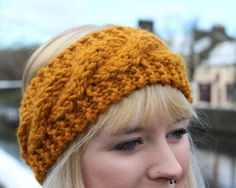 Chunky Cabled Headband in Butterscotch