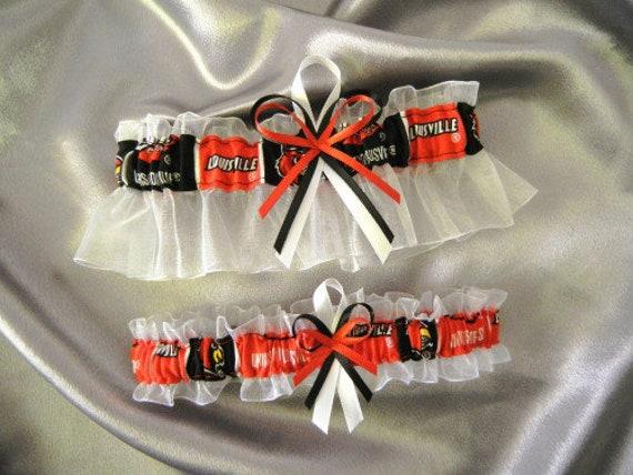 personalize now available upon request Pick Charm UofL handmade bridal keepsake garter set Lousiville Cardinals U of Louisville