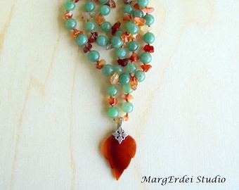 Carnelian  Pendant / Green Aventurine Crystal Beads Necklace  / Hand Knotted Silk Cord Necklace / Autumn Colors Necklace / Boho Necklace