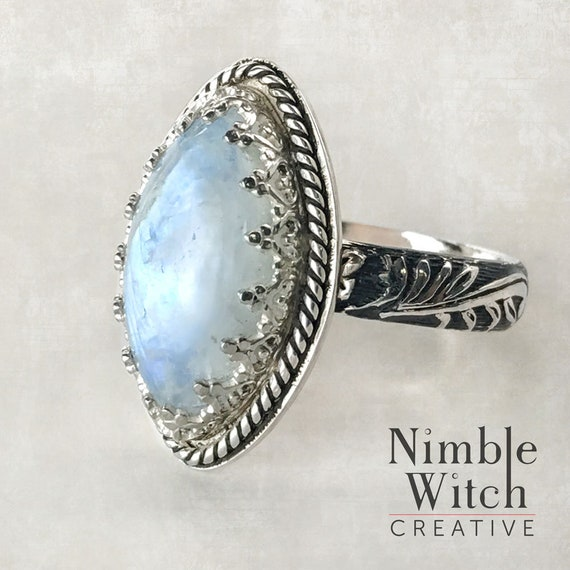 Rainbow moonstone ring Custom made to size. marquise cut gemstone in vintage style sterling silver