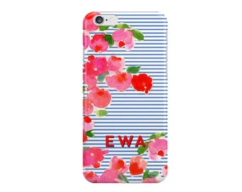 Shirting Stripe Floral Monogrammed iPhone Case [Personalized iPhone 6 case]
