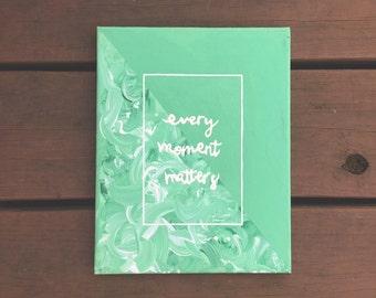 Green Brush Strokes Moments Canvas