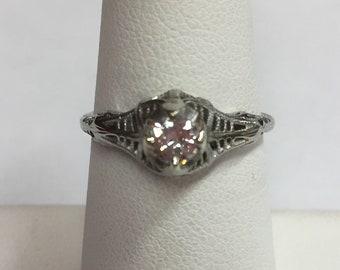 18k White Gold 1920's Antique Filigree 1/4ct Diamond Ring