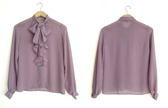 Vintage 80s Ruffles & Bow Tie Blouse by label CAM… - image 1