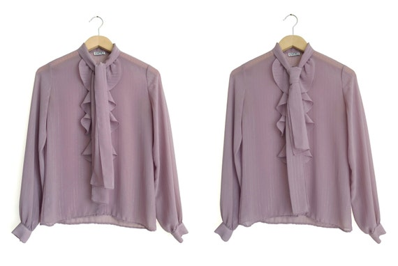 Vintage 80s Ruffles & Bow Tie Blouse by label CAM… - image 2