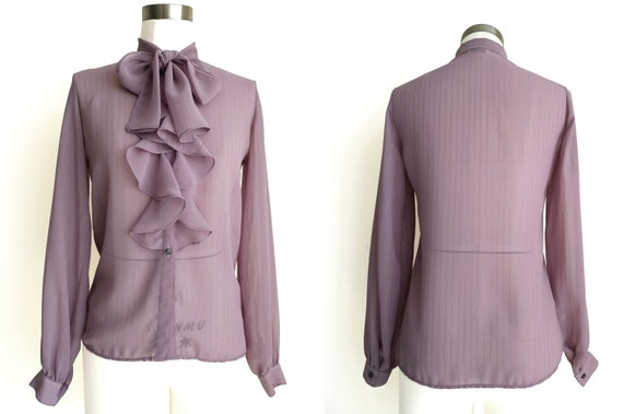 Vintage 80s Ruffles & Bow Tie Blouse by label CAM… - image 3