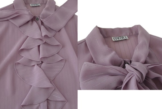 Vintage 80s Ruffles & Bow Tie Blouse by label CAM… - image 5