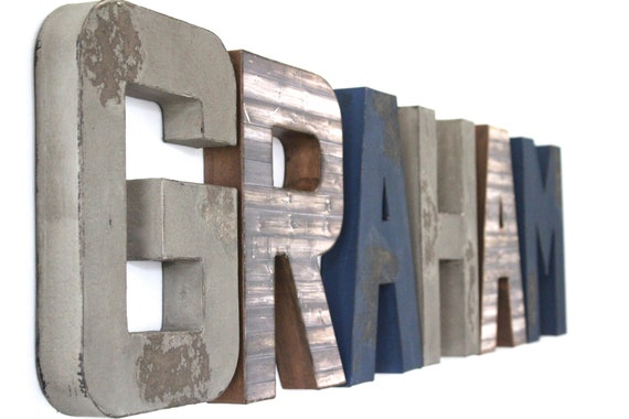 Boys Room Name Letters Wall Letters Rustic Letters Etsy